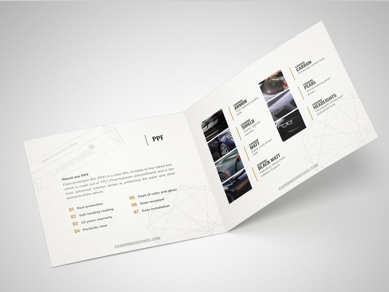 Projekt graficzny ulotki składanej CarbonQ