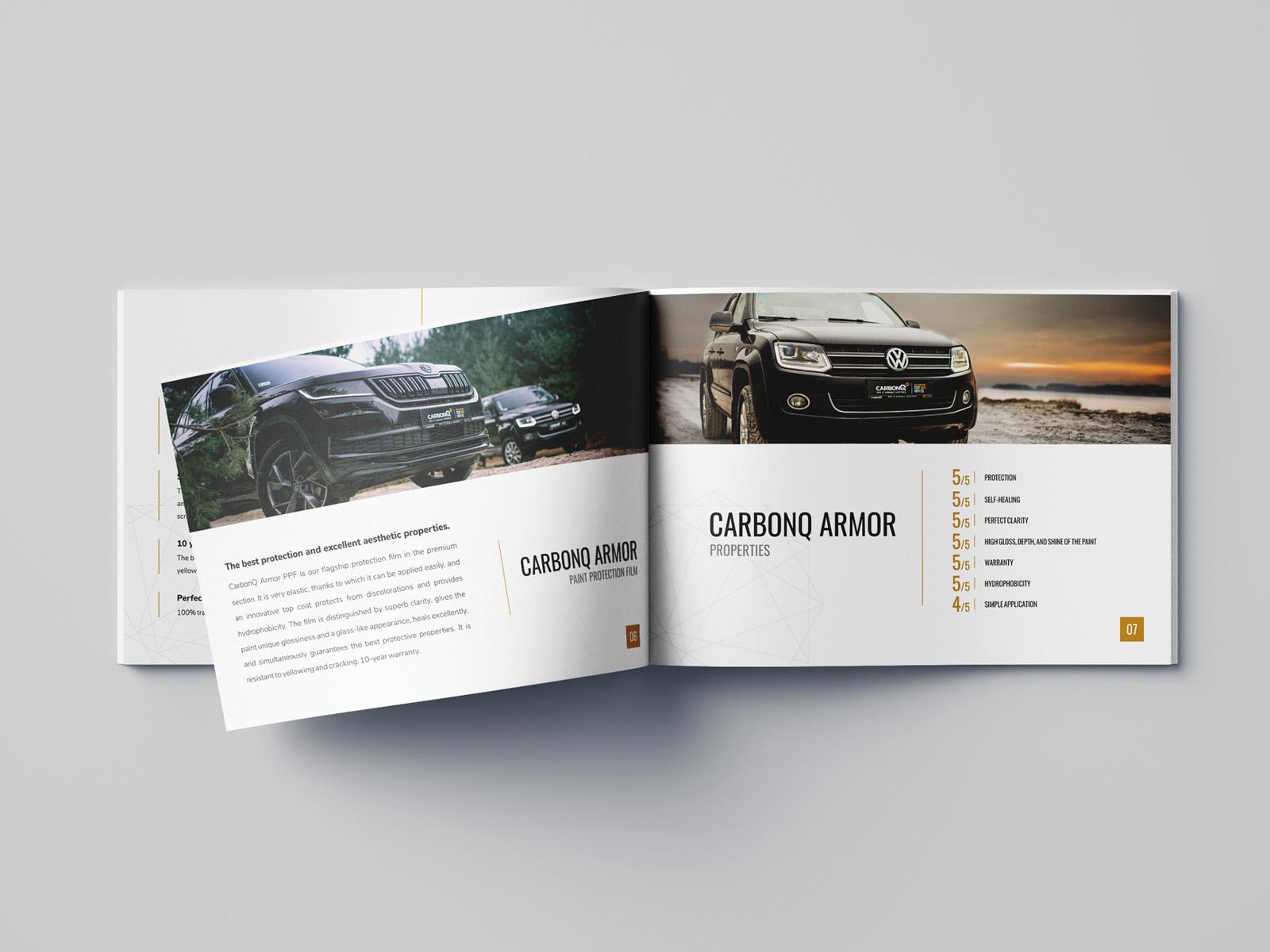 Projekt graficzny katalogu a4 dla firmy CarbonQ