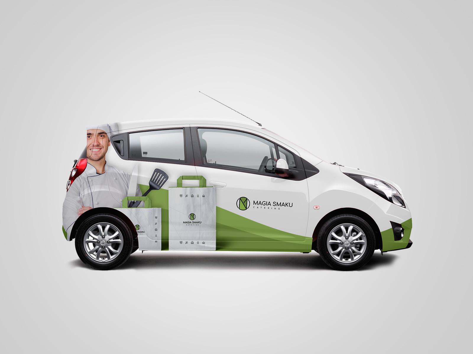 Projekt graficzny oklejenia samochodu dla firmy Magia Smaku