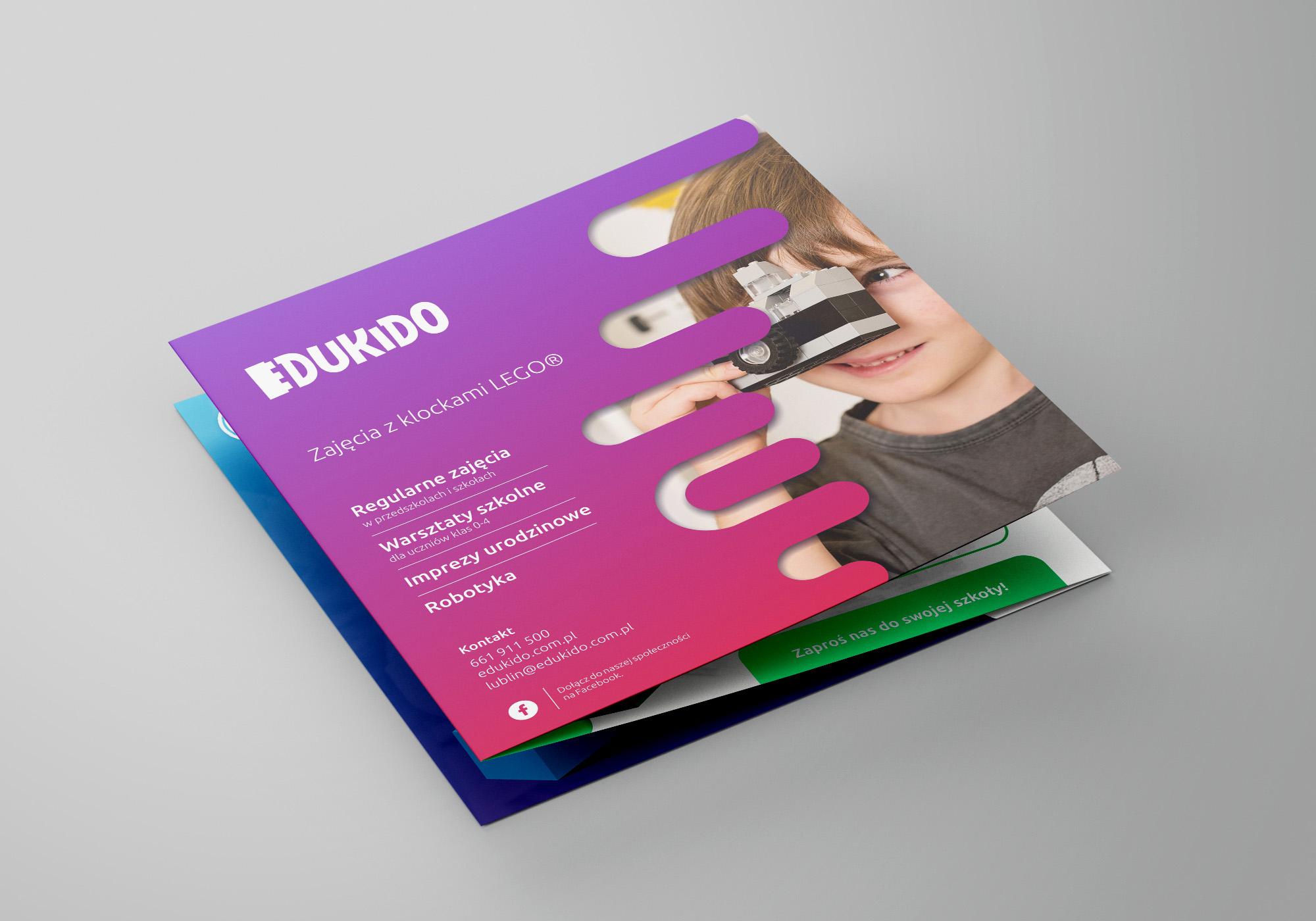 Projekt graficzny ulotki składanej dla firmy Edukido