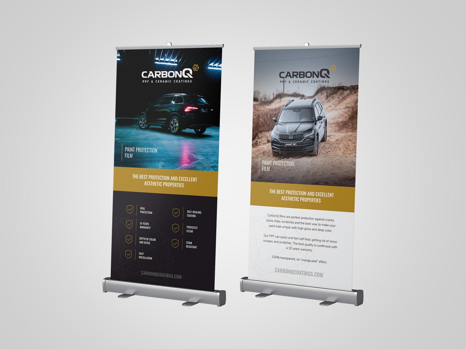 Projekt graficzny rollupów dla firmy CarbonQ