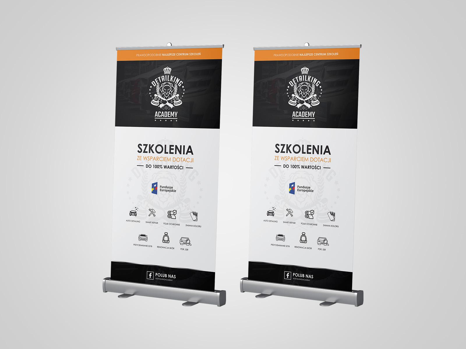 Projekt graficzny rollupów dla firmy detailking academy