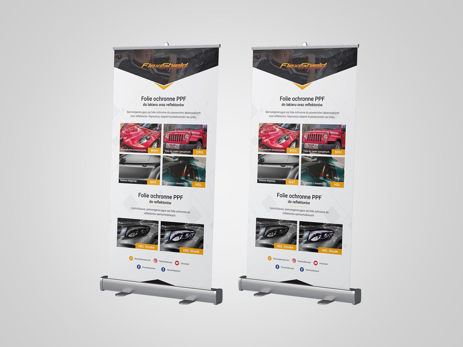Projekt graficzny rollupów dla firmy flexishield