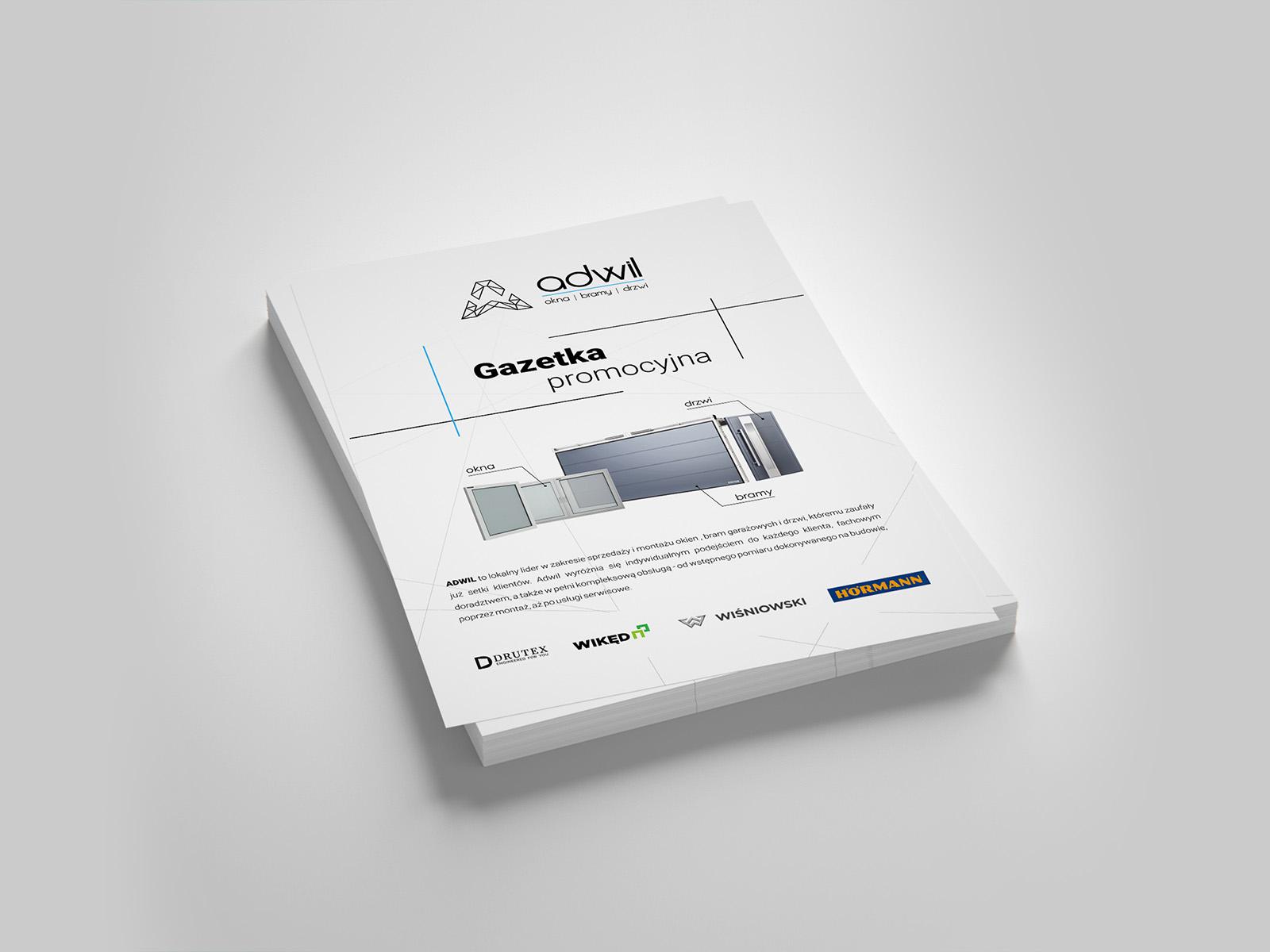 Projekt graficzny ulotki a4 dla firmy Adwil