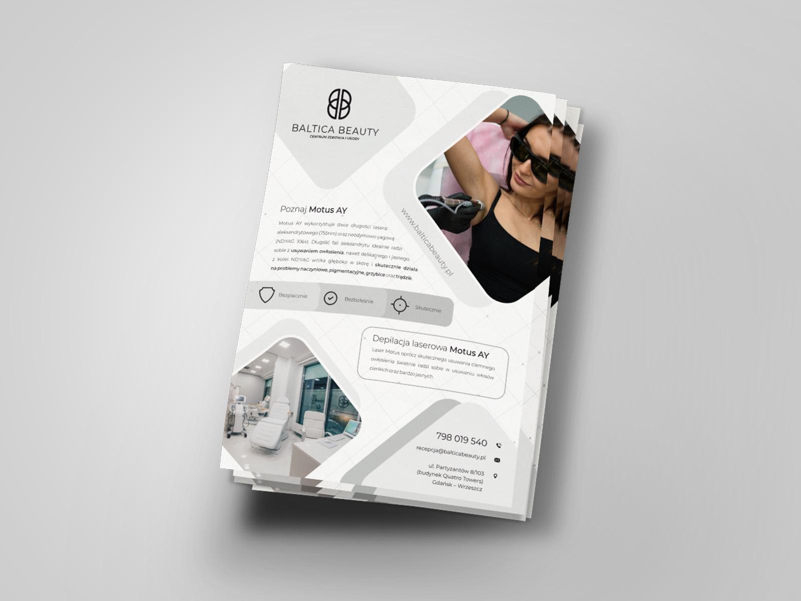 Projekt graficzny ulotki a5 dla firmy Baltica Beauty