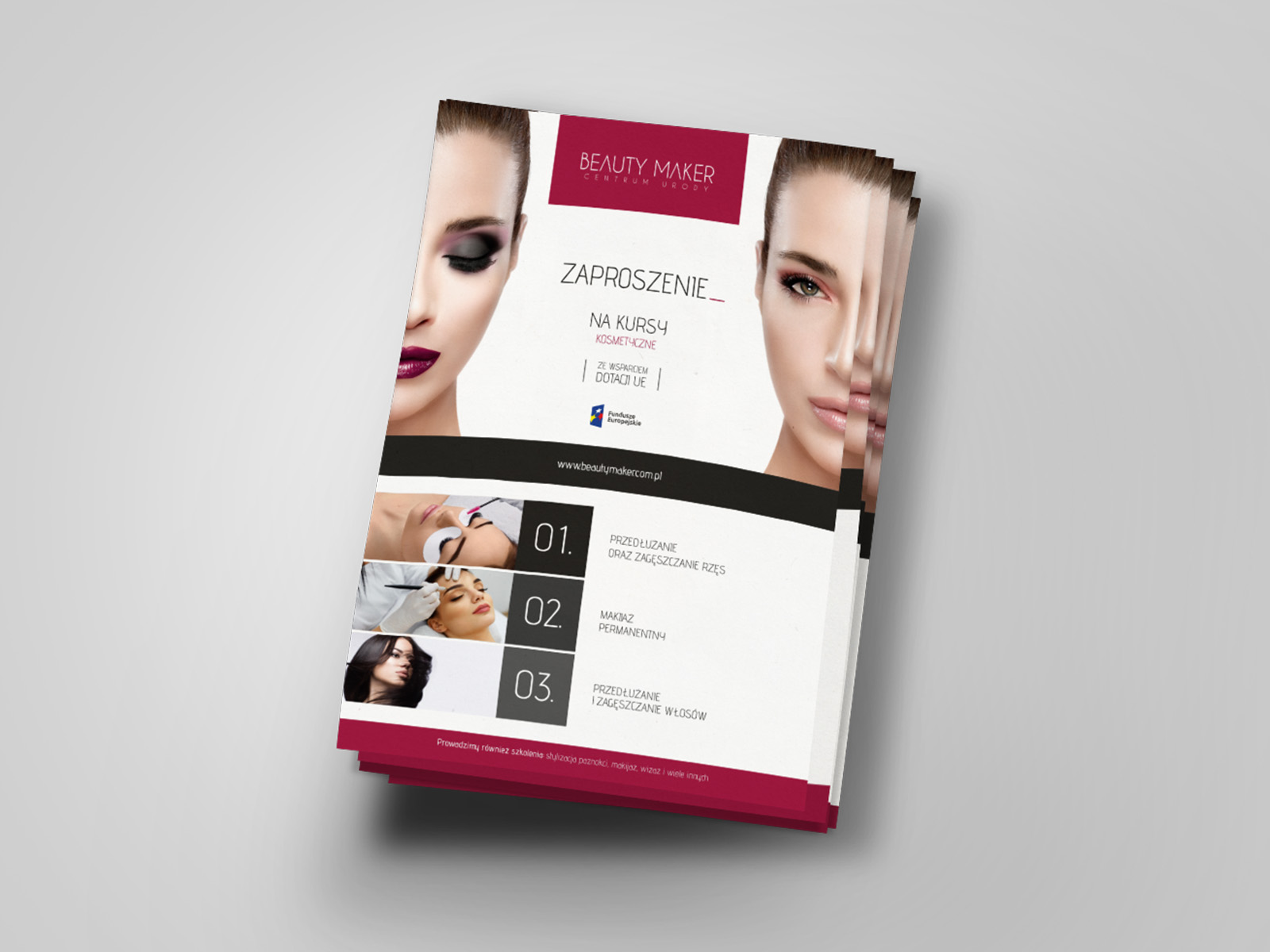 Projekt graficzny ulotki a5 dla firmy Beauty Maker