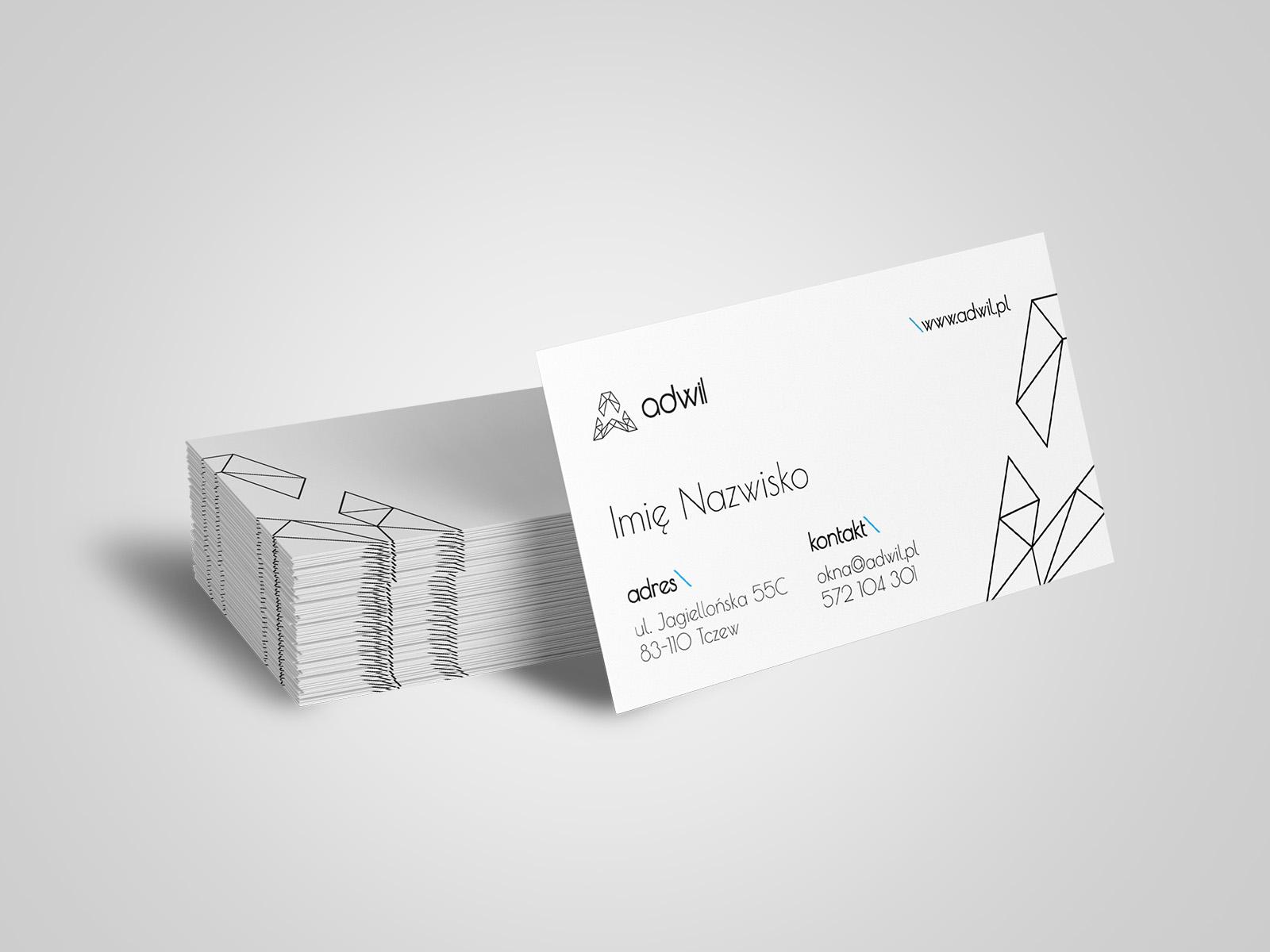 Projekt graficzny wizytówki dla firmy Adwil