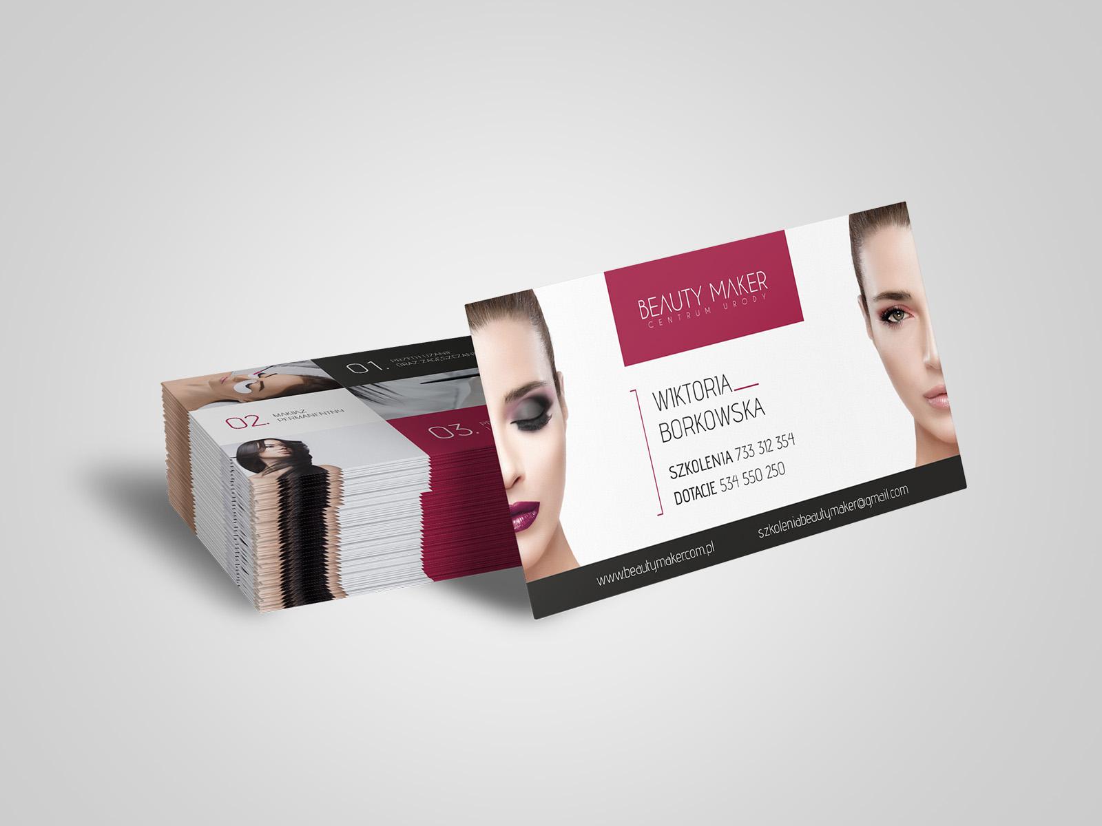 Projekt graficzny wizytówki dla firmy Beauty Maker