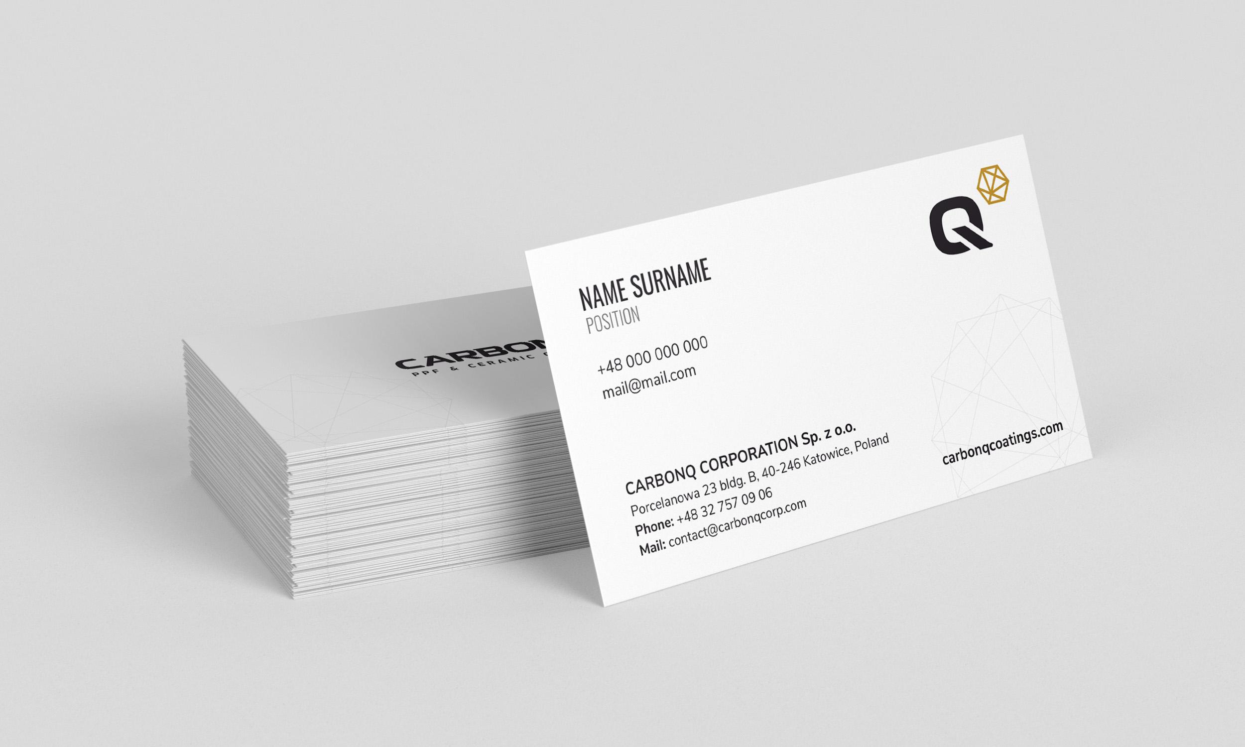 Projekt graficzny wizytówki dla firmy CarbonQ