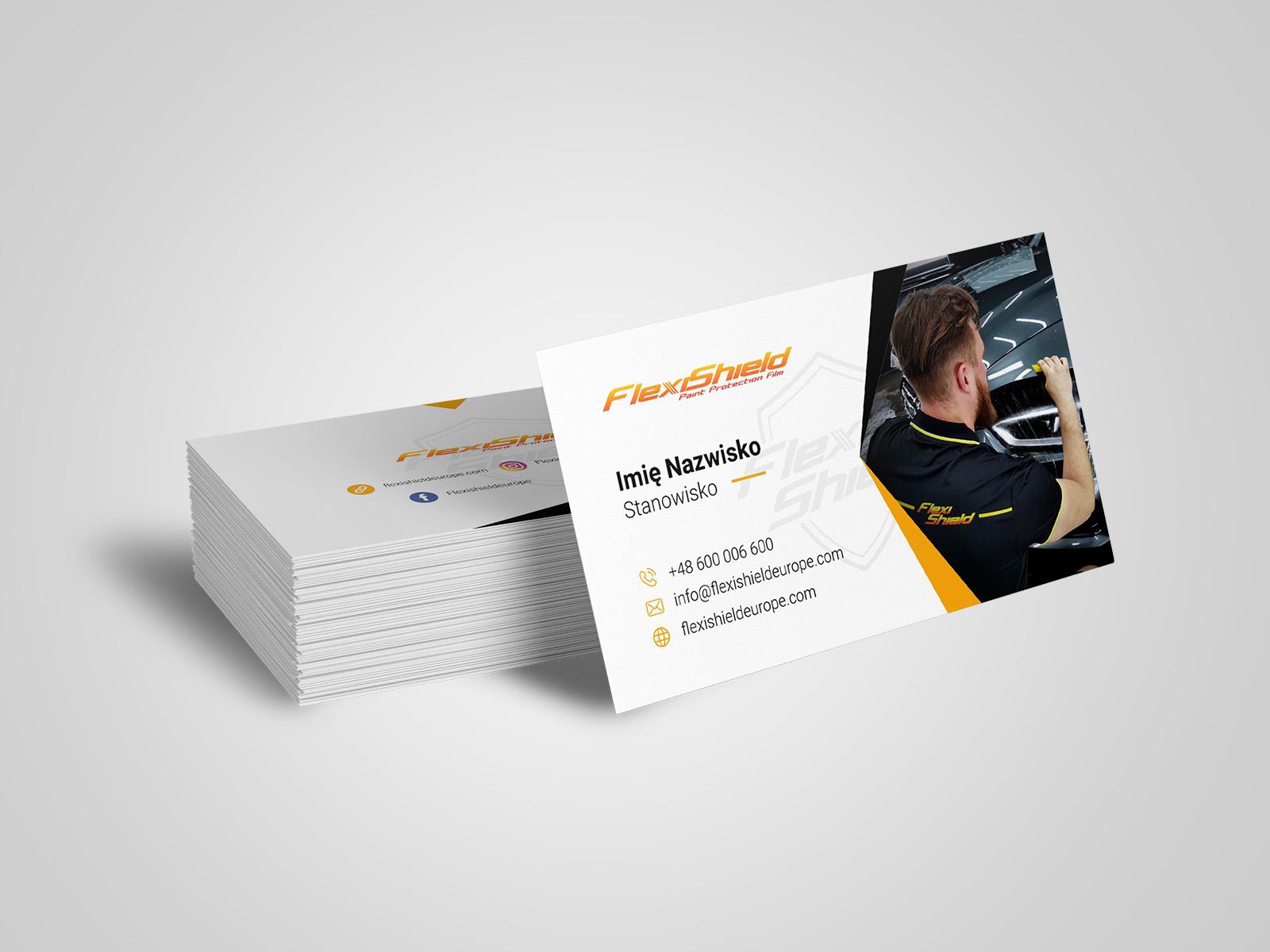 Projekt graficzny wizytówki dla firmy FlexiShield