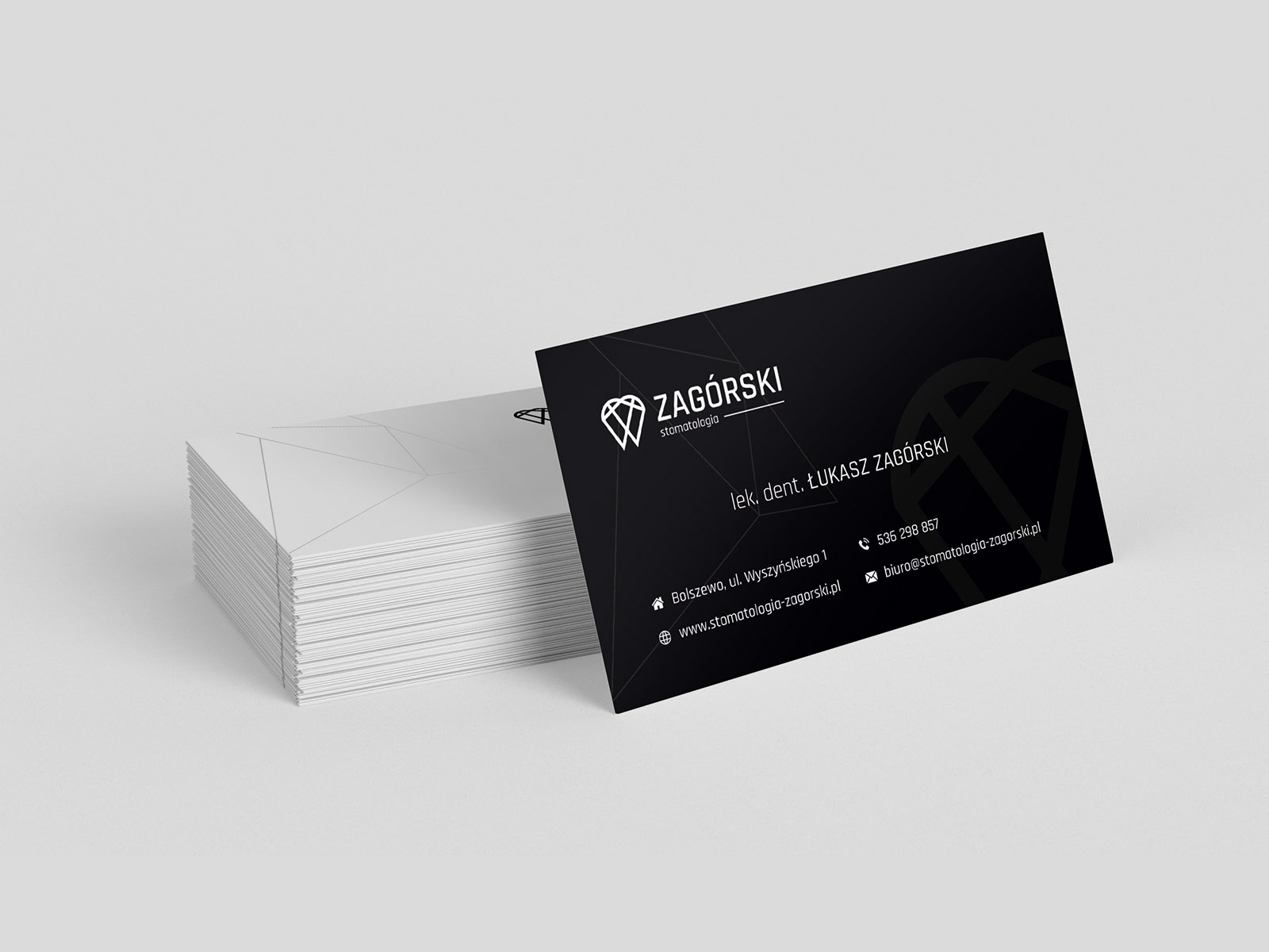 Projekt graficzny wizytówki dla firmy Zagórski Stomatologia