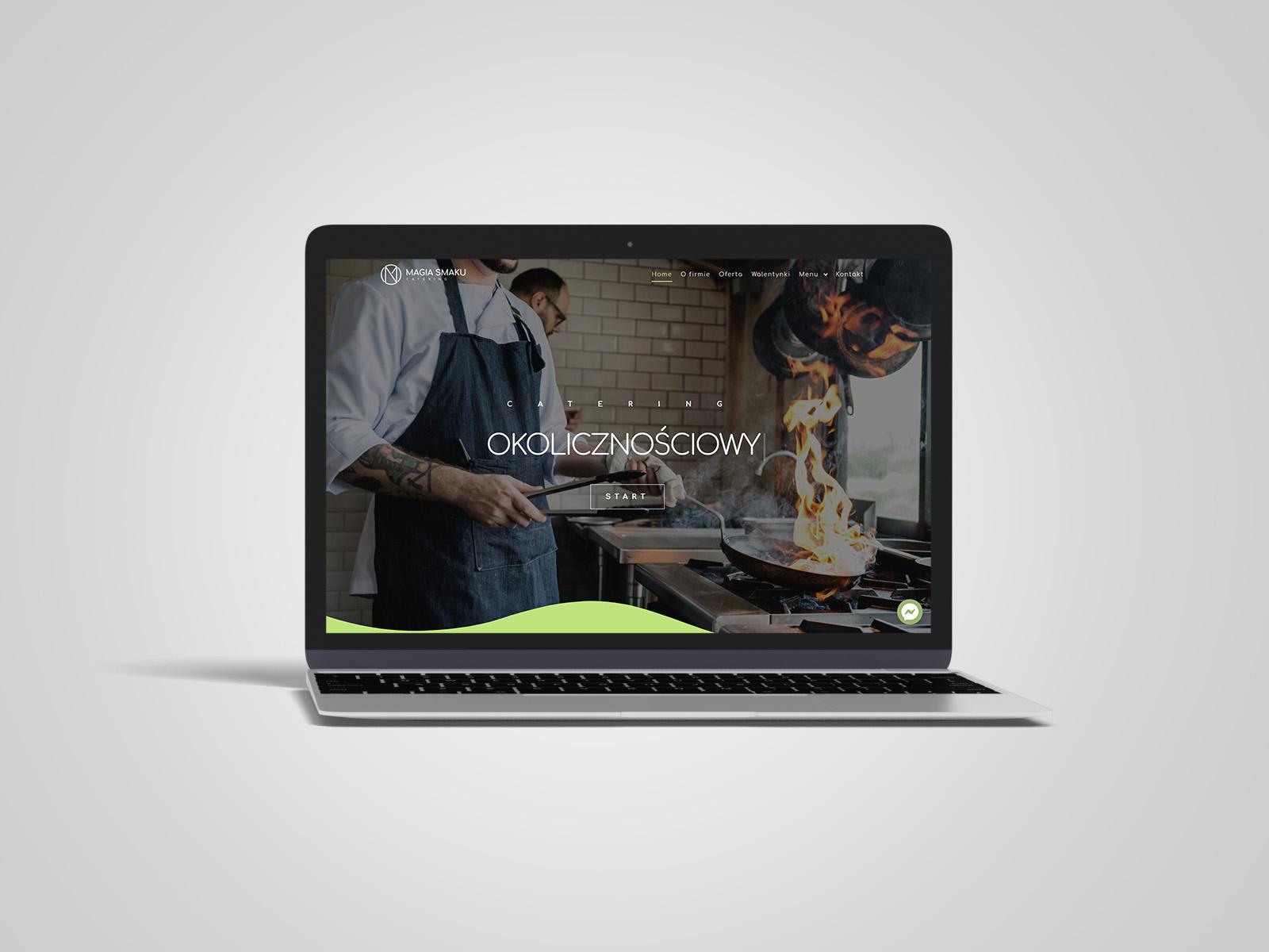 Laptop macbook, na którym wyświetlany jest projekt strony internetowej dla Magia Smaku. Portfolio AK Brainding.