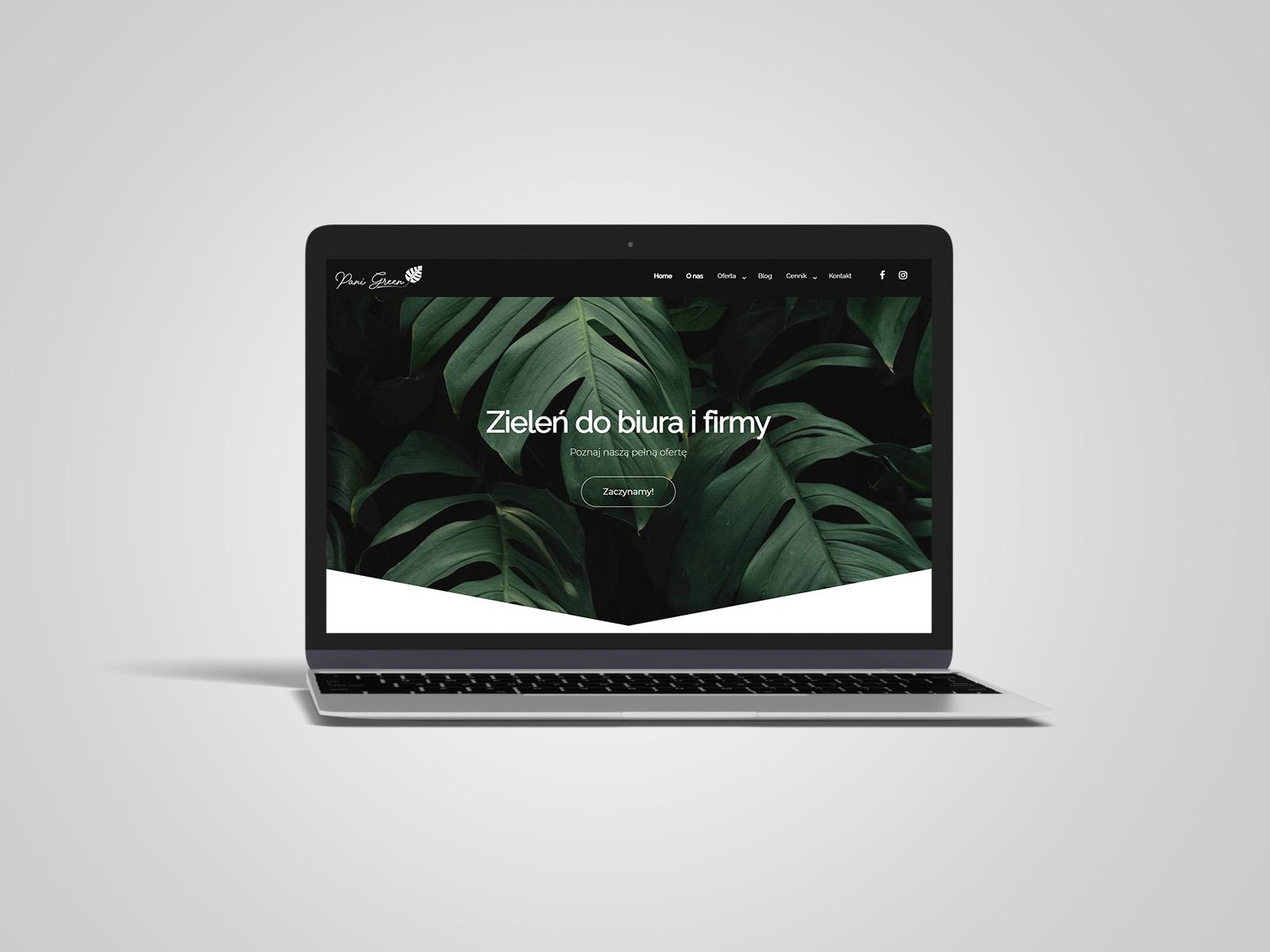 Laptop macbook, na którym wyświetlany jest projekt strony internetowej dla Pani Green. Portfolio AK Brainding.
