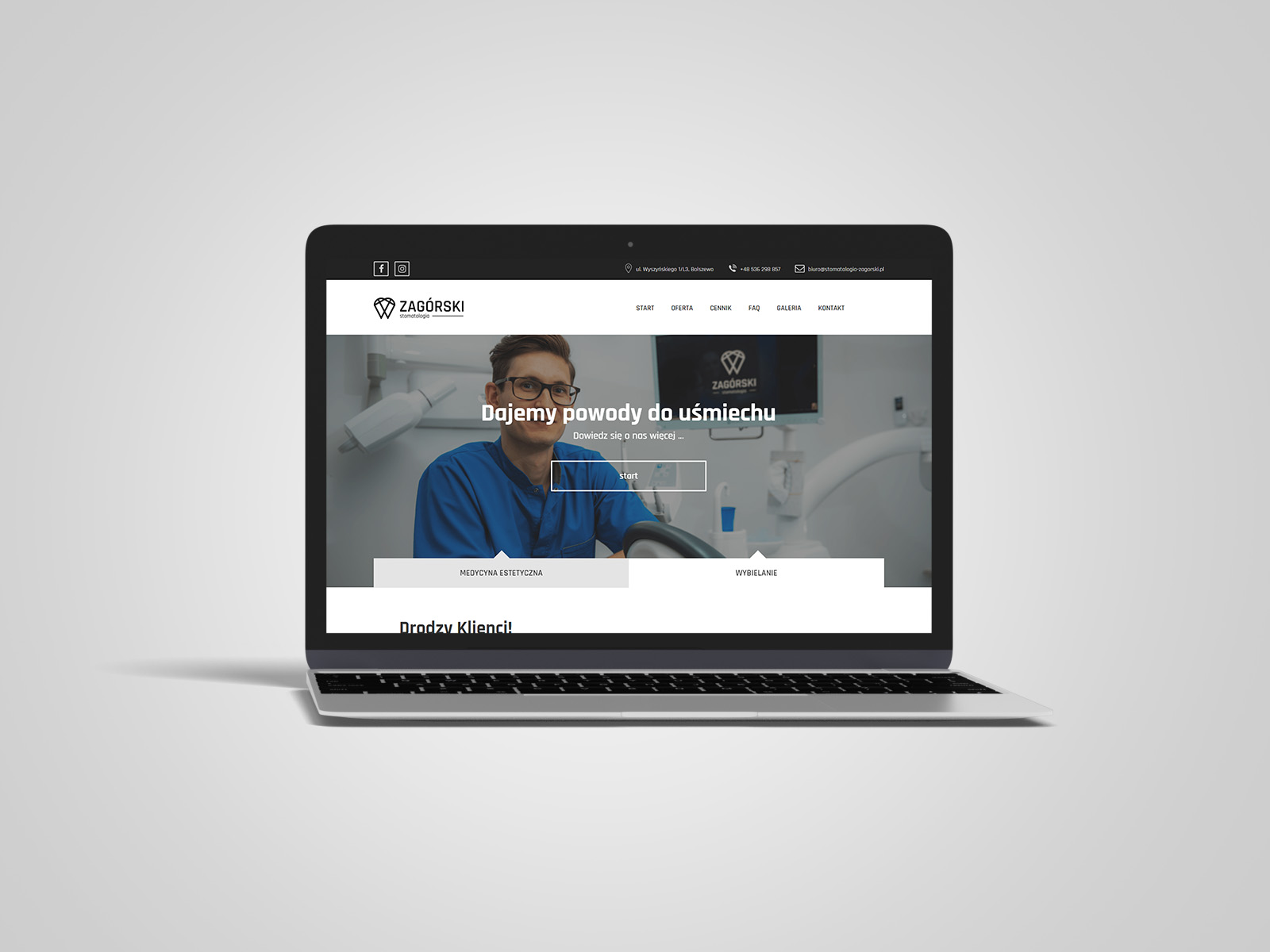 Laptop macbook, na którym wyświetlany jest projekt strony internetowej dla Zagórski Stomatologia